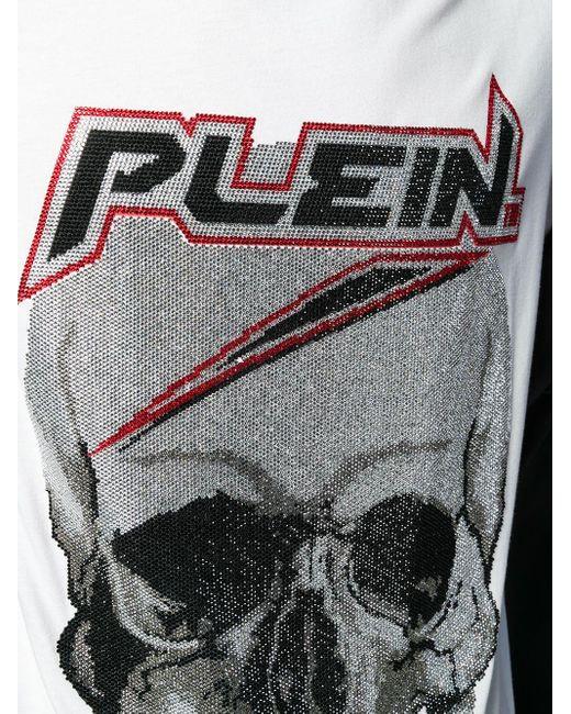 Philipp Plein T-Shirt mit Strass-Totenkopf in White für Herren