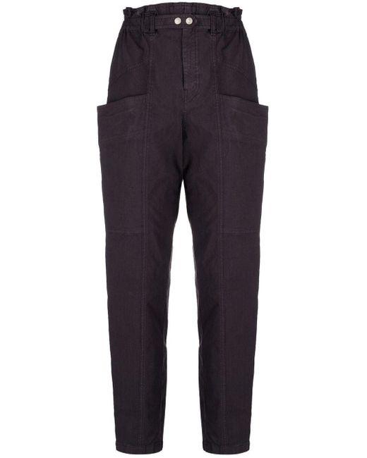 Pantalones ajustados con cintura paperbag Isabel Marant de color Blue