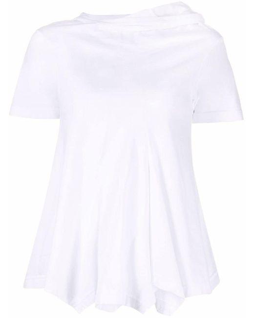 Comme des Garçons White Flared-hem Cotton T-shirt