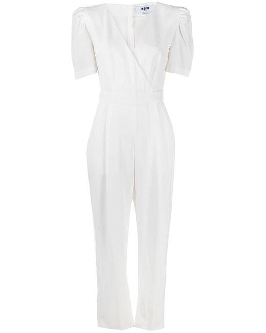 MSGM クレープ ジャンプスーツ White