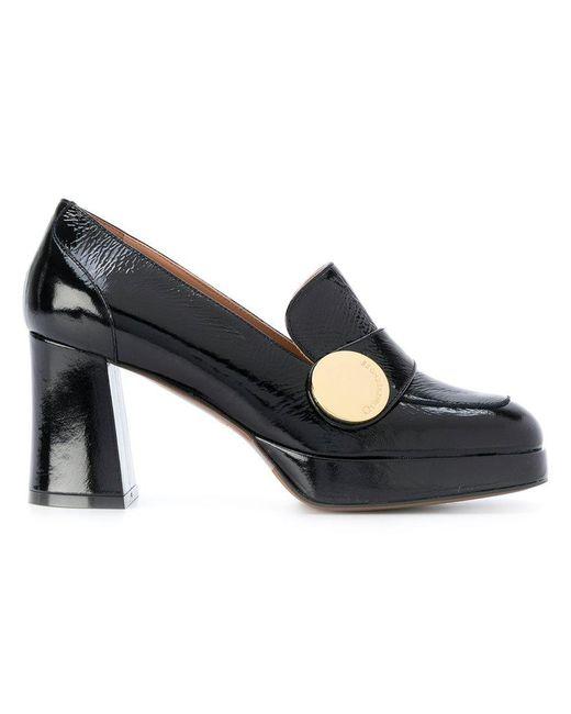L'Autre Chose - Black Textured Loafer Pumps - Lyst