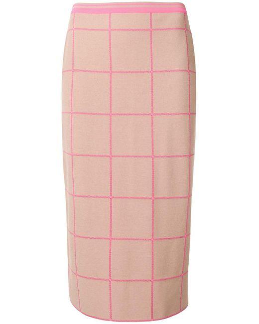 Marni チェック ミディスカート Pink