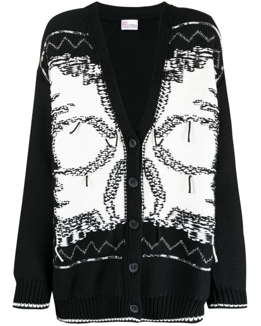 RED Valentino Black Intarsia-knit Cardigan