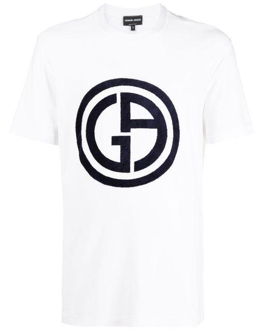 メンズ Giorgio Armani ロゴ Tシャツ White