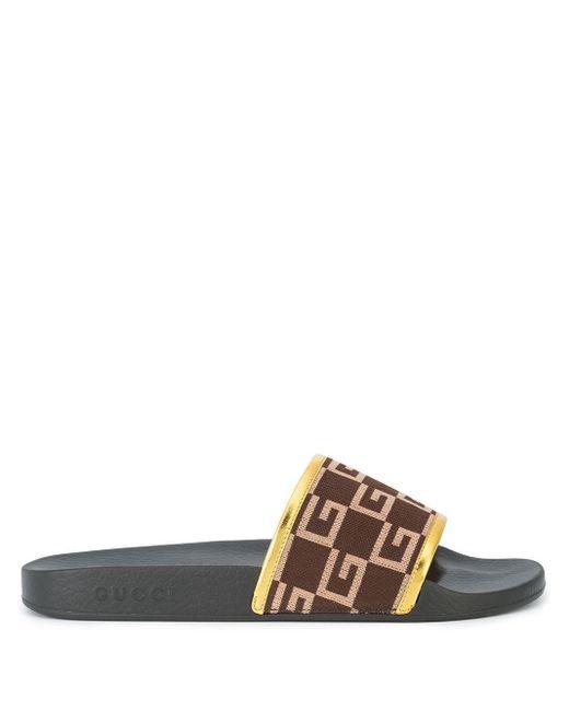 メンズ Gucci ロゴパターン サンダル Brown