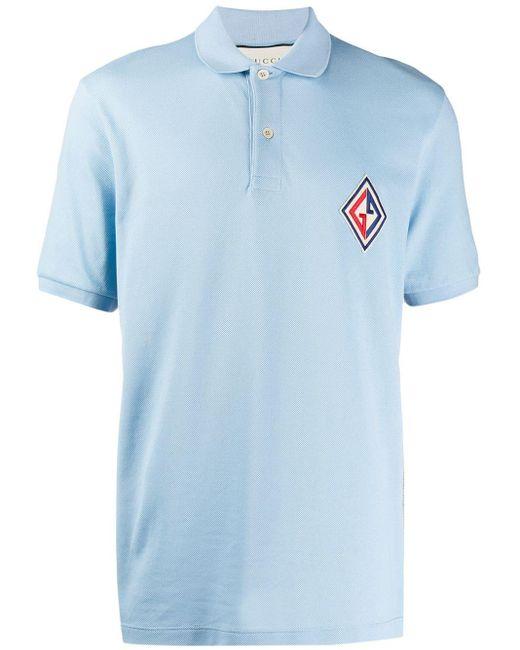 メンズ Gucci ロゴ ポロシャツ Blue