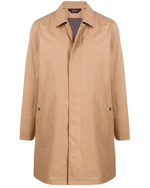 Z Zegna Brown Fitted Single Breasted Coat for men