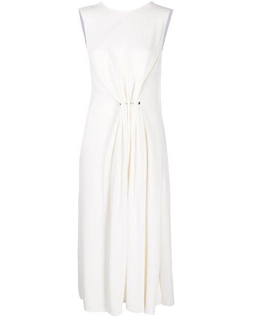Vestido midi fruncido sin mangas Victoria Beckham de color White