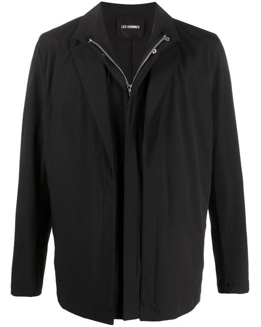 メンズ Les Hommes レイヤード ジップジャケット Black