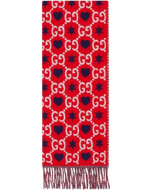 Gucci モノグラム スカーフ Red