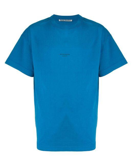 メンズ Acne ロゴプリント Tシャツ Blue
