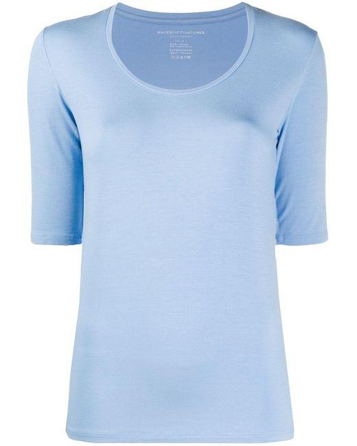 Majestic Filatures スクープネック Tシャツ Blue