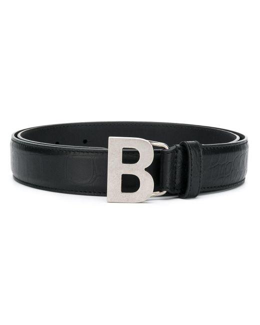 メンズ Balenciaga Bロゴ バックル ベルト Black