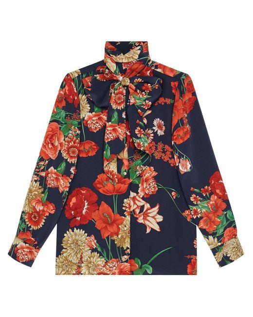Gucci スプリング ブーケット シルク シャツ Red