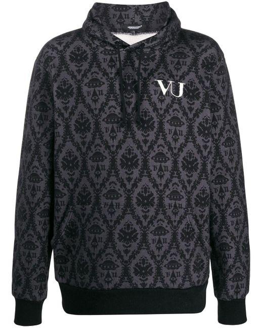 メンズ Undercover Valentino Edition グレー And ブラック ベース プリント フーディ Black