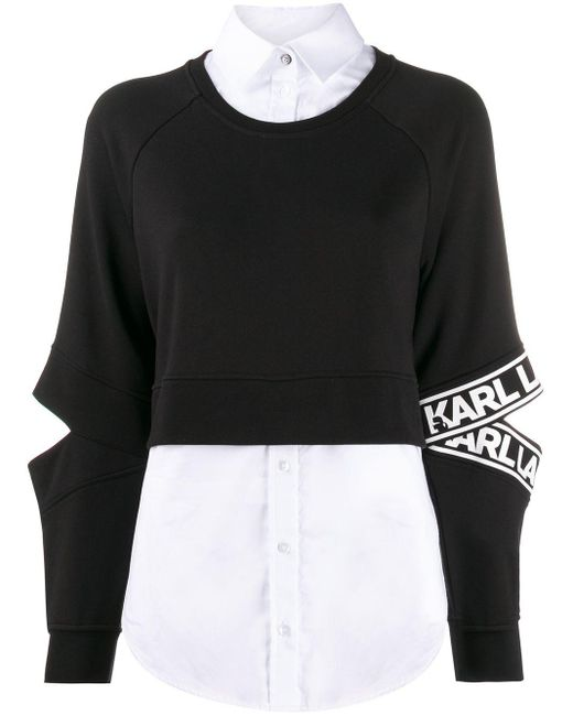 Karl Lagerfeld パネル スウェットシャツ Black