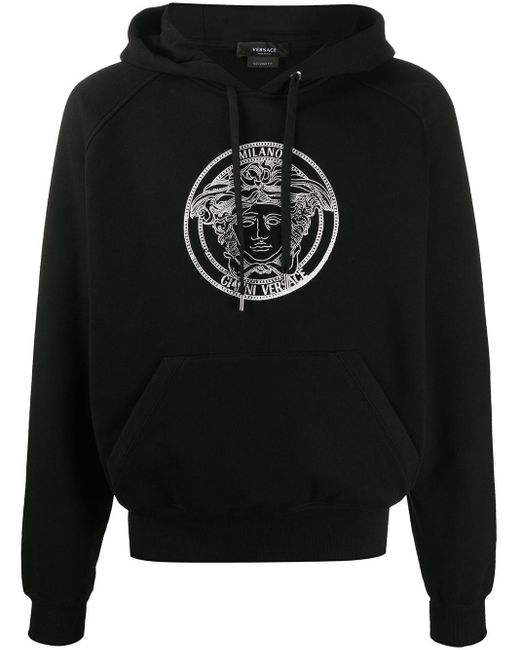 Versace Black Medusa Logo Hoodie for men