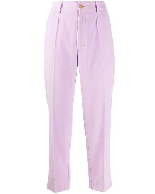 Зауженные Бархатные Брюки Forte Forte, цвет: Pink