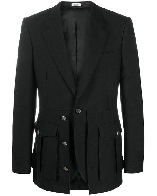 Однобортный Пиджак Alexander McQueen для него, цвет: Black