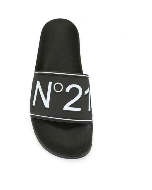 メンズ N°21 ロゴ オープントゥ サンダル Black
