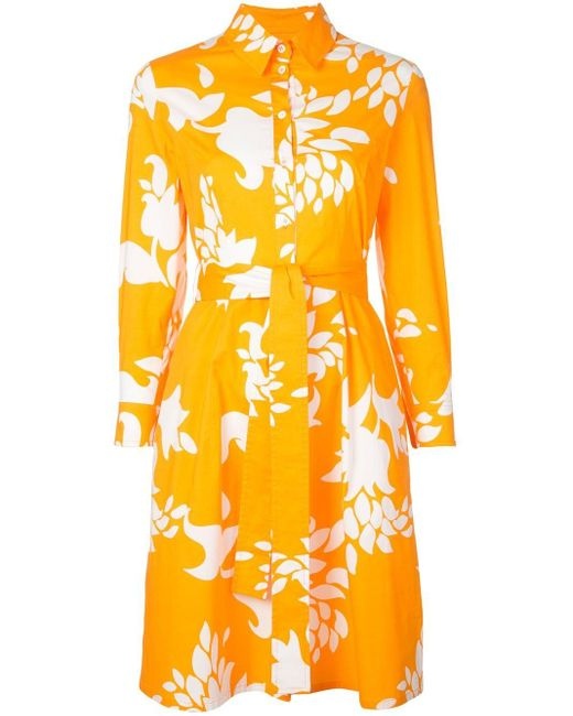 Carolina Herrera フローラル シャツドレス Orange