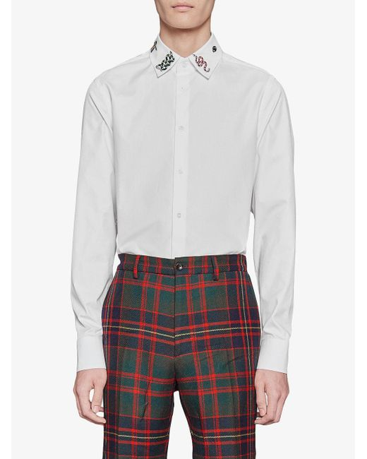 ed6239f3b Gucci Cotton Shirt With Symbols in White for Men - Save 8% - Lyst