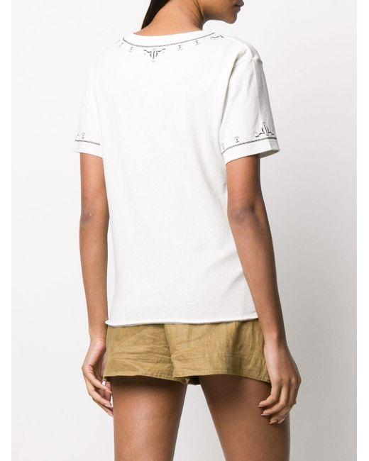 Saint Laurent Camiseta con detalles bordados de mujer de color gris