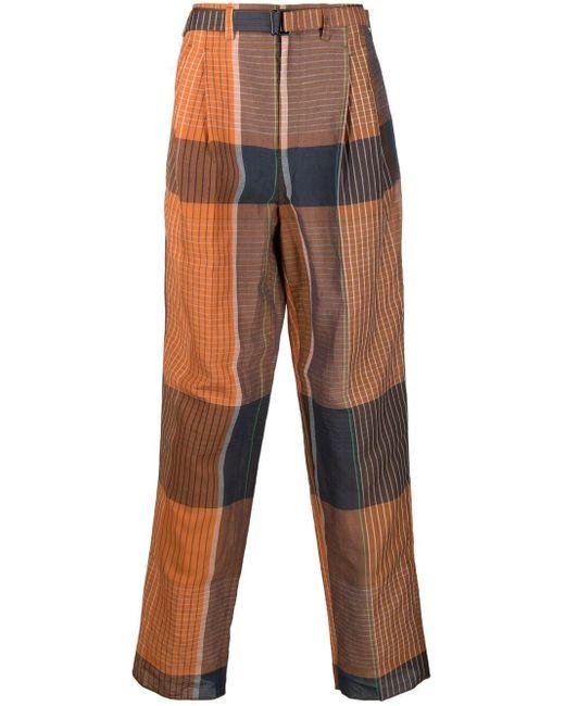 メンズ Lemaire チェック ワイドパンツ Orange