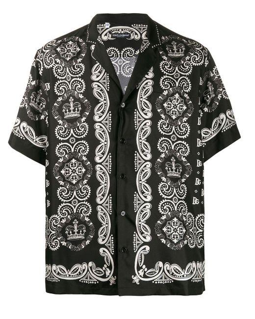 メンズ Dolce & Gabbana ブラック And ホワイト シルク ハワイアン シャツ Black