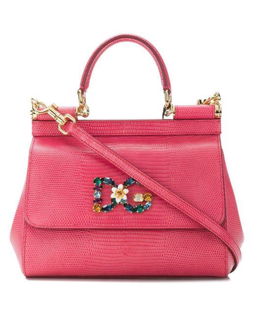 Dolce & Gabbana Sicily レザー ハンドバッグ Pink