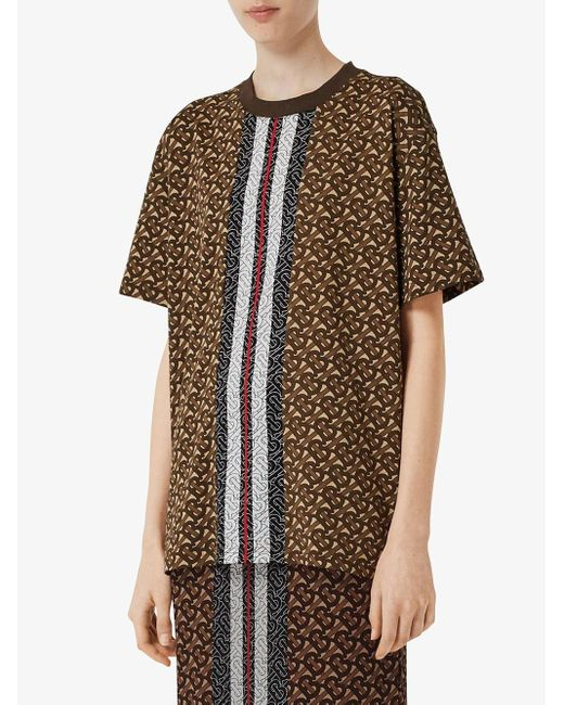 Camiseta oversize con monograma Burberry de color Brown
