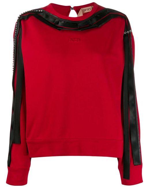N°21 リボントリム スウェットシャツ Black