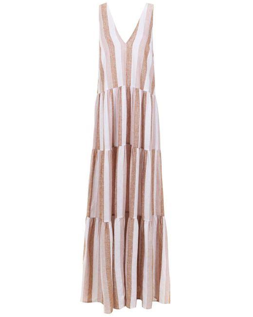 Adriana Degreas ストライプ イブニングドレス Pink