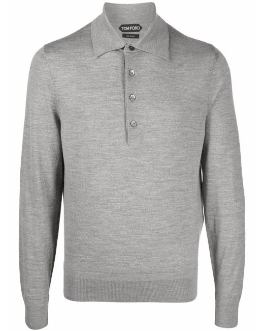 Tom Ford Gray Knitted Wool Polo Shirt for men