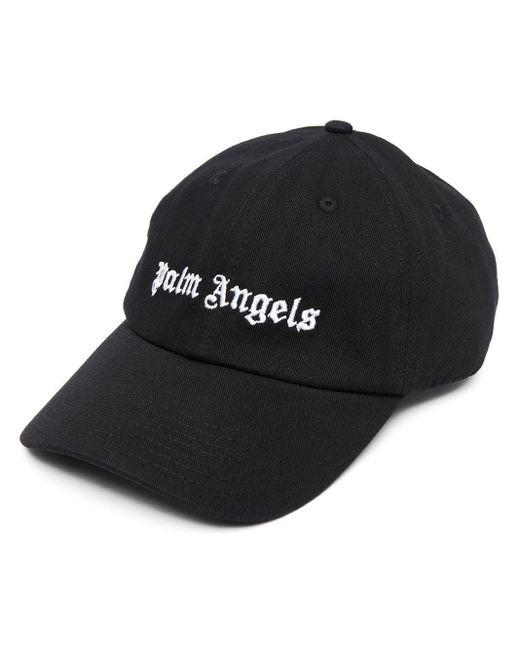 メンズ Palm Angels ブラック コーデュロイ Classic ロゴ キャップ Black