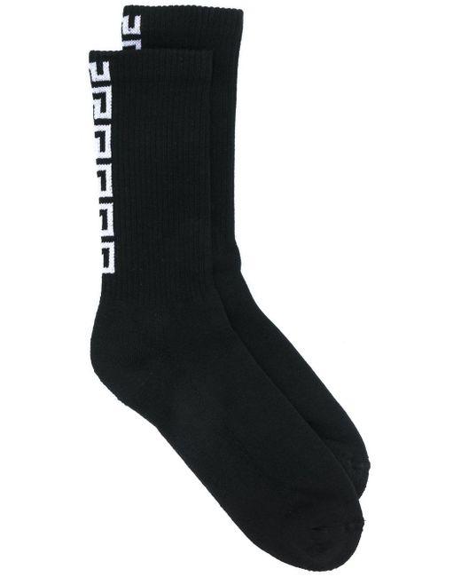 メンズ Versace グレカ 靴下 Black