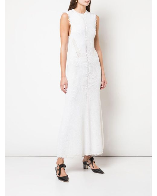 PROENZA SCHOULER WHITE LABEL フレイドヘム ニットドレス White