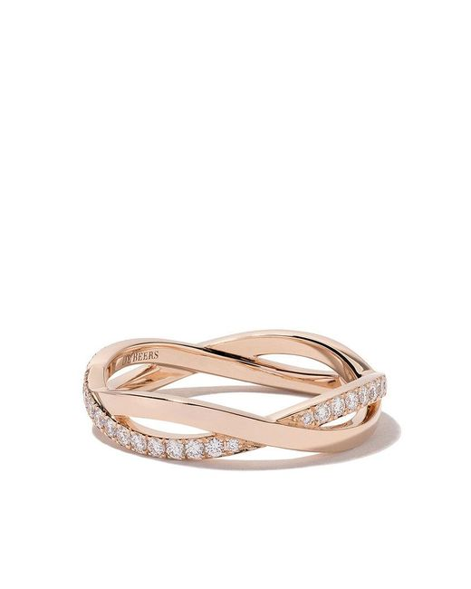 De Beers - Pink 18kt Rose Gold Infinity Half Pave Diamond Band - Lyst