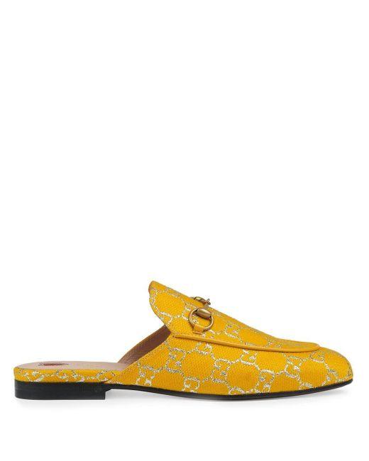 Слиперы Princetown С Узором GG Supreme Gucci, цвет: Yellow