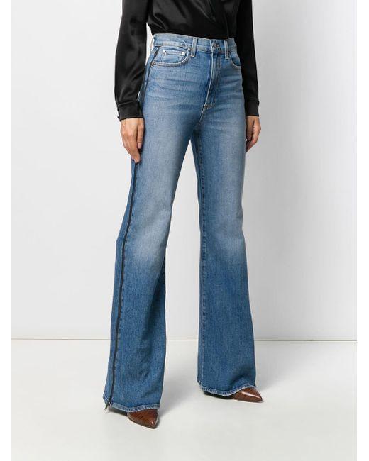 Denim Jeans Belted Trouser Wide Leg Flare Uptown Rise Zipper Fly New York /& Co.