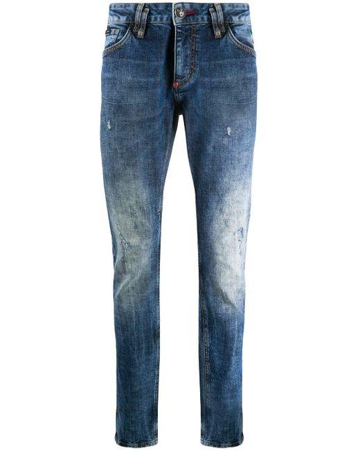 Philipp Plein Blue Skull Slim-fit Jeans for men