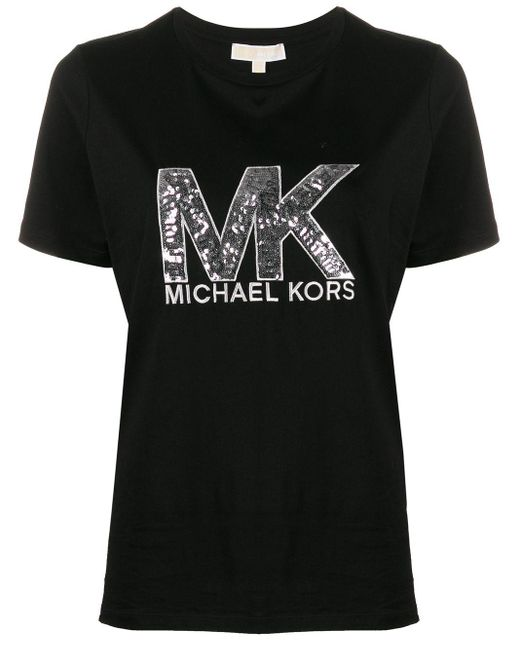 MICHAEL Michael Kors スパンコールロゴ Tシャツ Black