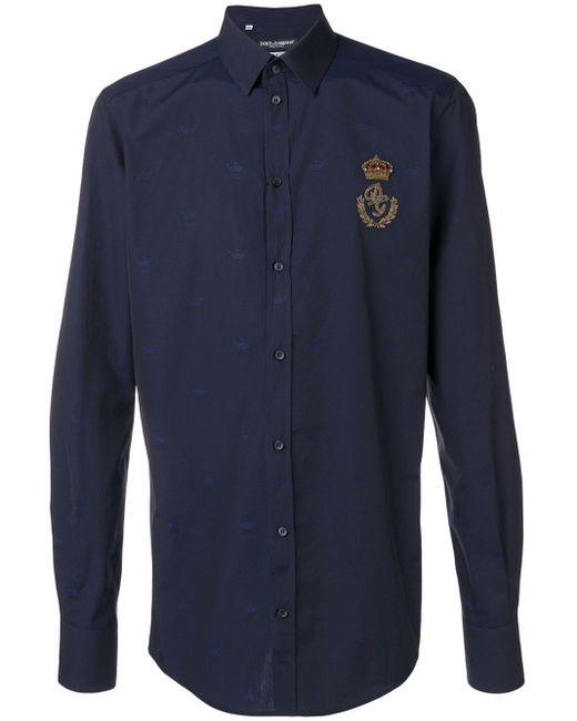 メンズ Dolce & Gabbana エンブロイダリー シャツ Blue