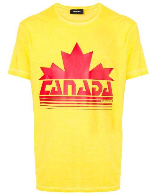 メンズ DSquared² プリント Tシャツ Yellow
