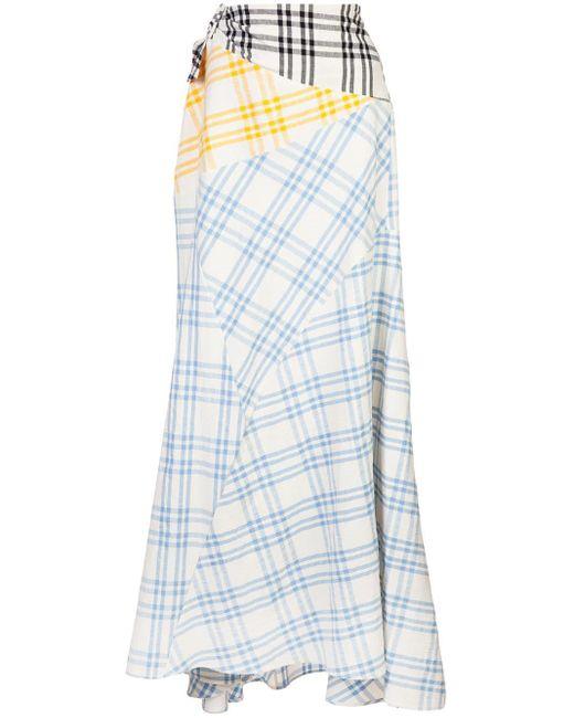 Rosie Assoulin パッチワーク チェックスカート White