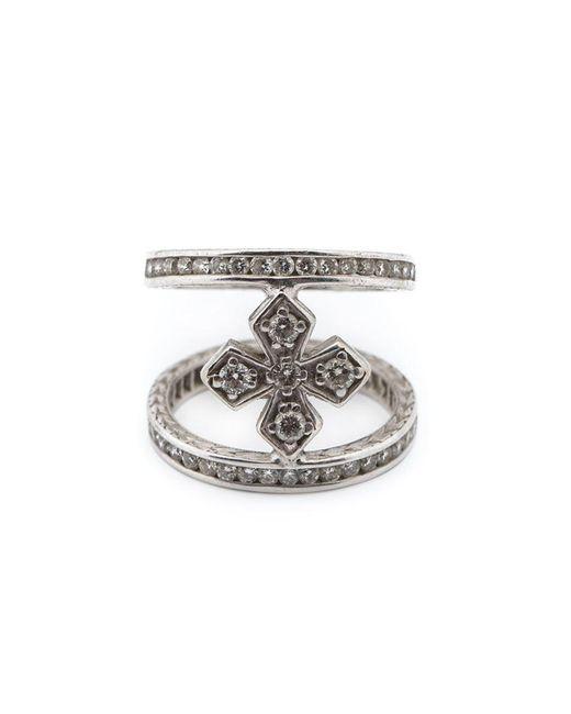 Loree Rodkin | Metallic Mini Halo Princess Cross Diamond Mid Finger Ring | Lyst