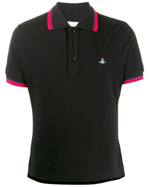 メンズ Vivienne Westwood ストライプトリム ポロシャツ Black