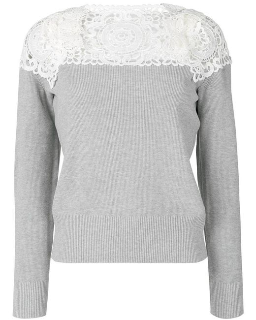 Sacai - Gray Lace-panelled Sweater - Lyst