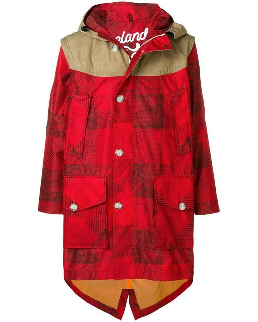 Woolrich - Red Contrast Panel Parka Coat for Men - Lyst