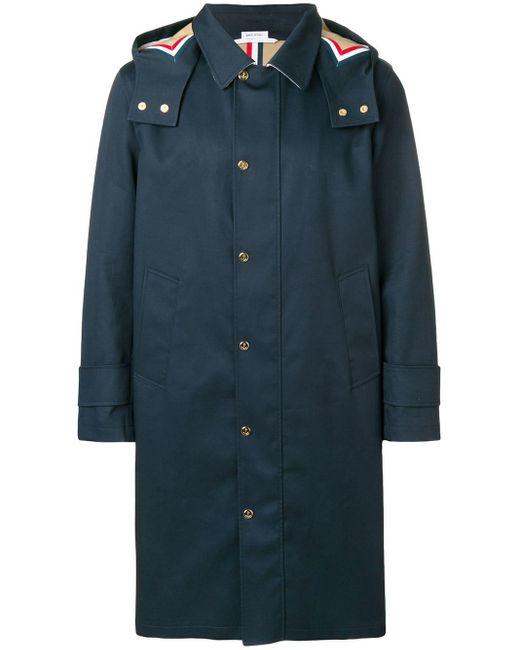 Thom Browne - Blue Detachable Hood Mackintosh Parka for Men - Lyst